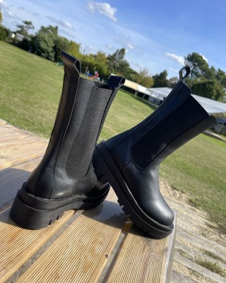 Boots Hautes Simili Cuir