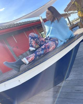 Pantalon Suedine Bleu