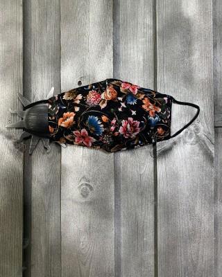 Masque à Fleurs Fond Noir