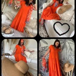 Saturday mood 🧡🧡🧡, le soleil est de retour !!!! On sort les couleurs 🌈🌈🌈 Robe 39€, Capeline 15€, Chèche 10€… #papilhome #lookdujour #robelongue #soleil☀️ #fringues #vetementmode #tendance2021 #dressingroom #siteinternet #gujanmestras #bassinarcachon